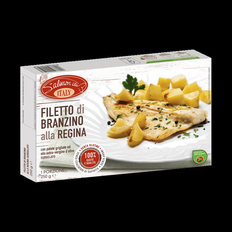 Filetto Branzino alla Regina con patate ed olio extra vergine di oliva